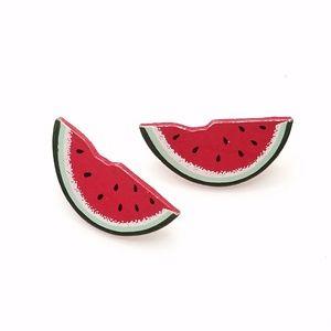 Vintage Summer Watermelon Slice Wood Stud Earrings